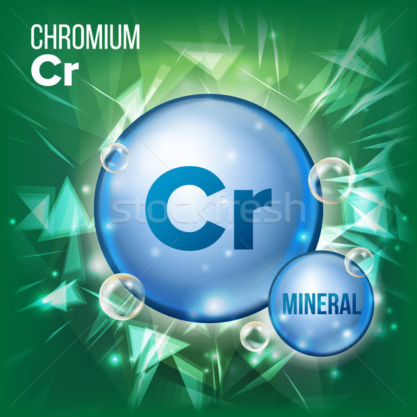 Cr Chromium Vector. Mineral Blue Pill Icon. Vitamin Capsule Pill Icon. Substance For Beauty, Cosmeti Stock photo © pikepicture