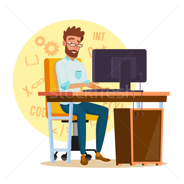 Programmer Man Vector. Stylized Young Developer. Person Working On Computer. Isolated Flat Cartoon C Stock photo © pikepicture