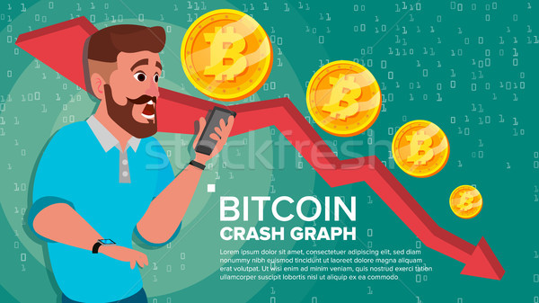 Bitcoin Crash Graph Vector. Surprised Investor. Negative Growth Exchange Trading. Collapse Of Crypto Stock photo © pikepicture