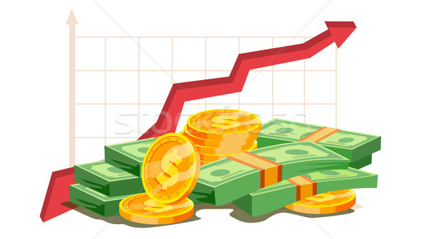 Pile Of Cash Vector. Red Rising Graph Concept. Business Growth. Investment Banking Financial Success Stock photo © pikepicture
