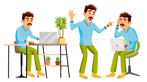 Business Man Character Vector. Working Man. Environment Process In Start Up Office, Studio. Male Pro Stock photo © pikepicture