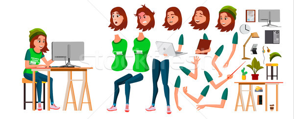 Young Business Woman Character Vector. Working Teen Female Girl. Clerk Working At Office Desk. Anima Stock photo © pikepicture