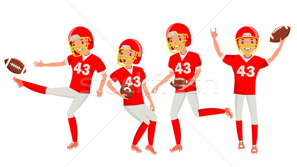 American Football Male Player Vector. Match Tournament. Summer Activity. Playing In Different Poses. Stock photo © pikepicture