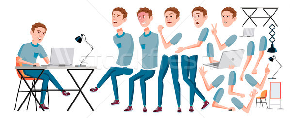 Office Worker Vector. Face Emotions, Various Gestures. Animation Creation Set. Adult Business Male.  Stock photo © pikepicture