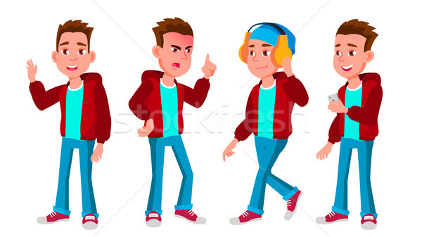 Boy Schoolboy Kid Poses Set Vector. High School Child. Teaching, Educate, Schoolkid. For Presentatio Stock photo © pikepicture