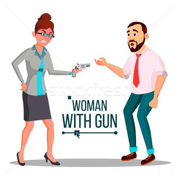 Business Woman With Gun Vector. Bankruptcy Concept. Pointing, Aiming. Isolated Flat Illustration Stock photo © pikepicture