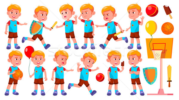 Boy Kindergarten Kid Poses Set Vector. Happy Children Character. Babysitting. For Advertisement, Gre Stock photo © pikepicture