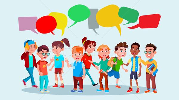 Group Of Pupils Vector. School. Mix Race. Chat Bubbles. Communication Bubble. Teamwork. Lifestyle. M Stock photo © pikepicture