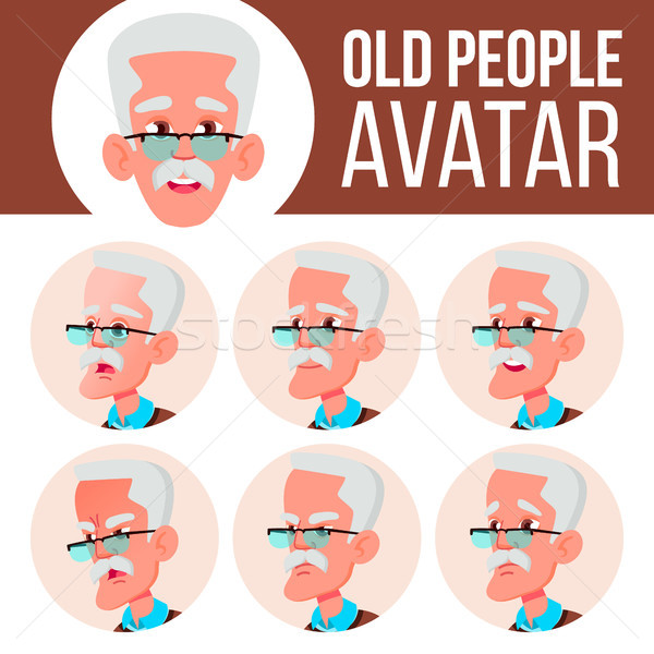 Stock photo: Old Man Avatar Set Vector. Face Emotions. Senior Person Portrait. Elderly People. Aged. Friendly. Po