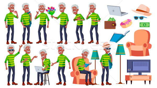 Old Man Poses Set Vector. Black. Afro American. Elderly People. Senior Person. Aged. Active Grandpar Stock photo © pikepicture