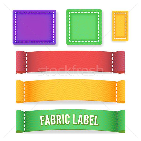 Farbe Label Stoff Vektor Sammlung farbenreich Stock foto © pikepicture
