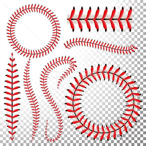 Beysbol dikişler vektör ayarlamak kırmızı dantel Stok fotoğraf © pikepicture