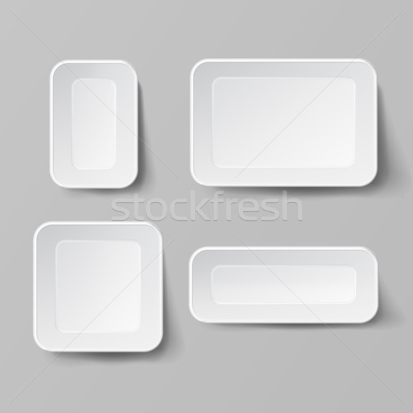 Realistic Food Container Set Vector. Empty Plastic Food Square Container. Good For Package Design. E Stock photo © pikepicture