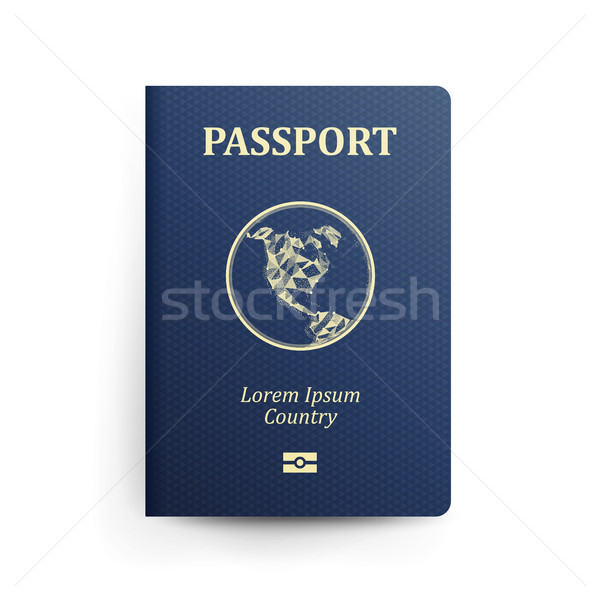 Passport With Map. Realistic Vector Illustration. Blue Passport With Globe. International Identifica Stock photo © pikepicture