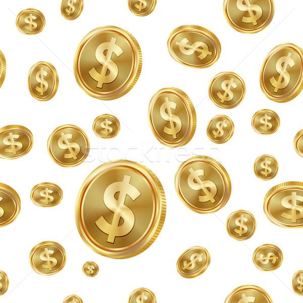 Dollar vector gouden munten geïsoleerd gouden Stockfoto © pikepicture