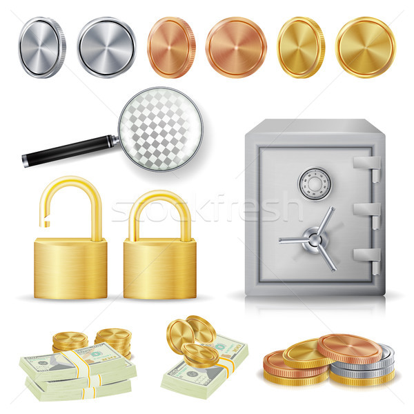 Money Secure Concept Vector. Gold, Silver, Copper Metal Coins, Money Banknotes Stacks, Encryption Pa Stock photo © pikepicture