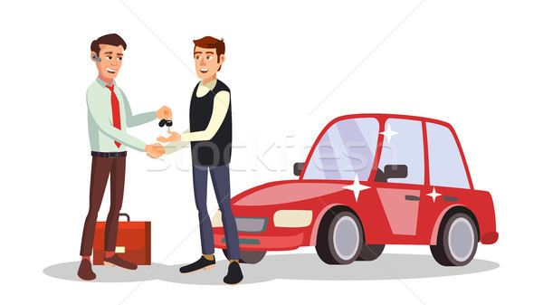 Car Dealer Man Vector. Automobile Sales Agent. Selling Or Rent A Car. New Machine. Flat Business Car Stock photo © pikepicture