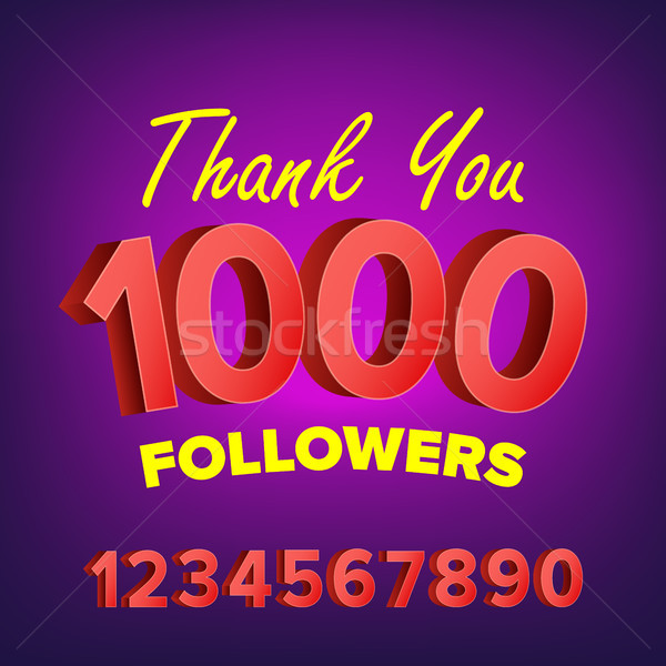 Thank You 1000 Followers Card Vector. Web Image for Social Networks. Beautiful Greeting Card. Illust Stock photo © pikepicture