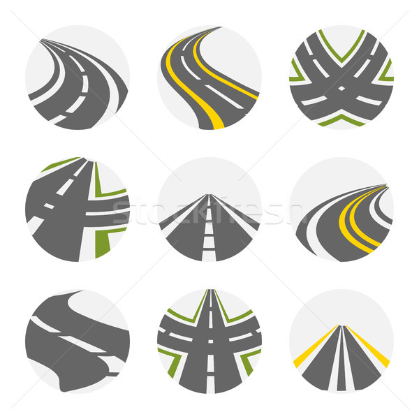 Curving Road Vector Set Stock photo © pikepicture