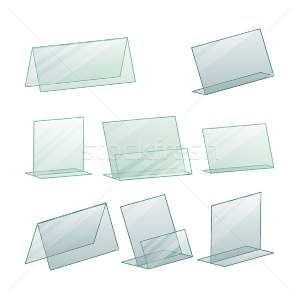 Acrylic Advertising Stand Holder Vector. Advertising Stand Holder For Paper. Transparent Plastic Sta Stock photo © pikepicture