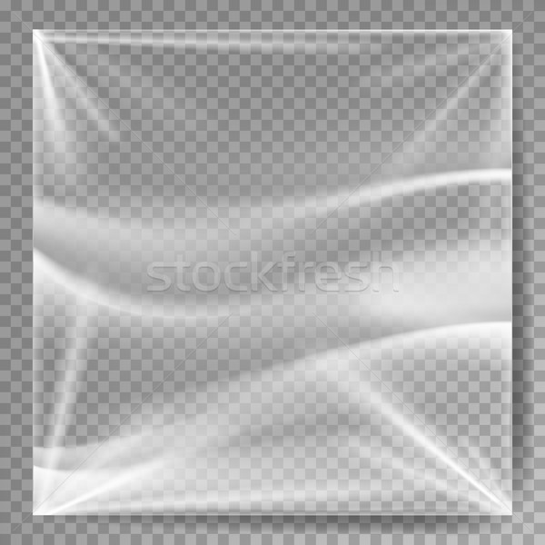 Transparent Polyethylene Vector. Plastic Warp Template For Your Design. Wrinkled Surface For Realist Stock photo © pikepicture