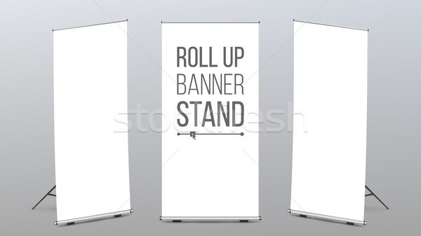 Roll Up Banner Stand Vector. Pop Up Flipchart For Training. Flag Design Layout. Poster For Conferenc Stock photo © pikepicture