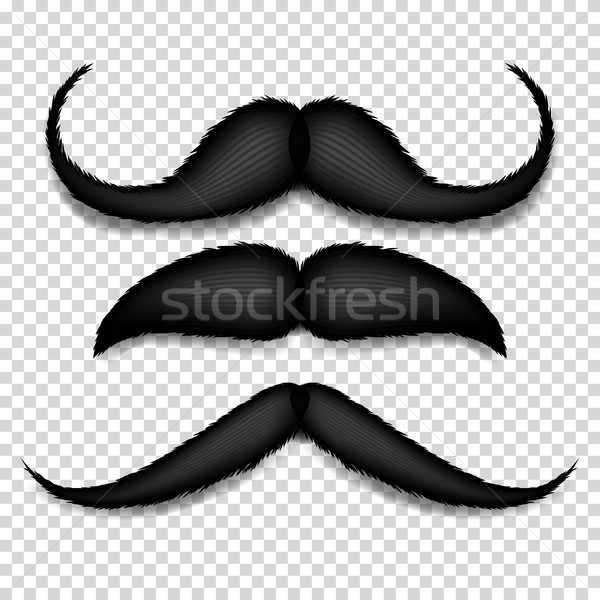 Mustache Isolated Vector. Black Vintage Moustache. Retro Collection Isolated On Transparent Backgrou Stock photo © pikepicture