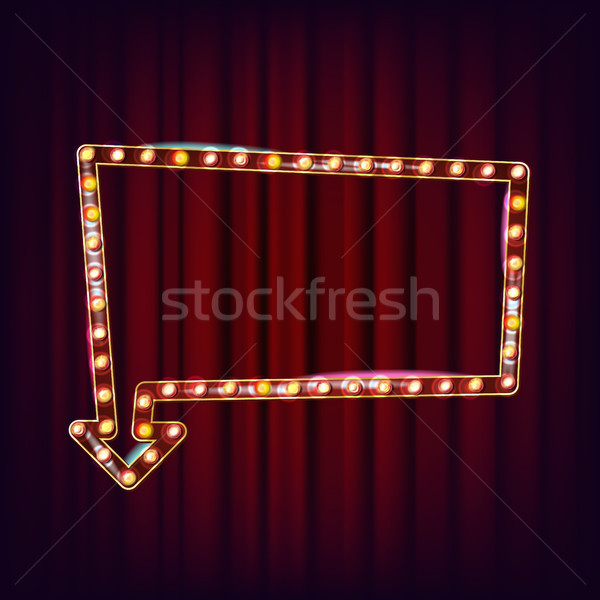 Retro Billboard Vector. Shining Light Sign Board. Realistic Lamp Frame. 3D Glowing Element. Vintage  Stock photo © pikepicture
