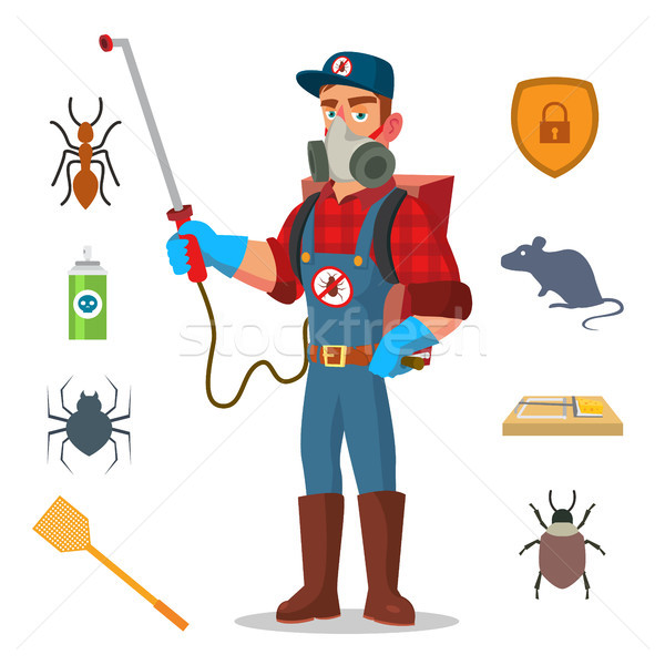 Stock photo: Pest Control Vector. Prevention From Infection, Microbes. Protective Clothes. Anti Germs. Exterminat