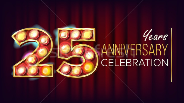 25 Years Anniversary Banner Vector. Twenty-five, Twenty-fifth Celebration. Shining Light Sign Number Stock photo © pikepicture