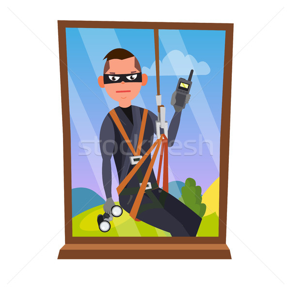Thief And Window Vector. Breaking Into House Through Window. Insurance Concept. Burglar, Robber In M Stock photo © pikepicture