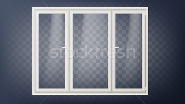 Plastic Door Vector. Closed Glass Store Door. Energy Saving. Hostel, Store, Office Element. Isolated Stock photo © pikepicture