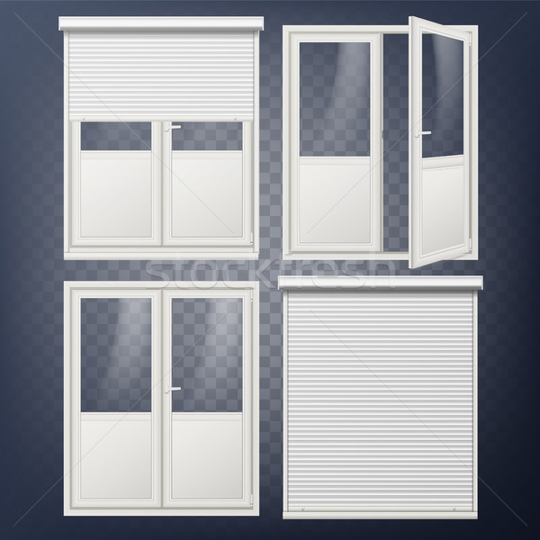 Plastic Door Vector. Modern White Roller Shutter. Opened And Closed. Energy Saving. Corner Door. PVC Stock photo © pikepicture