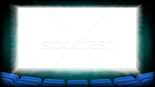 Scherm film bioscoop vector hal Blauw Stockfoto © pikepicture
