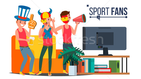 Sport Fans Group Vector. Cheering For The Sport Team. Watching Game Match On TV. Isolated Flat Carto Stock photo © pikepicture