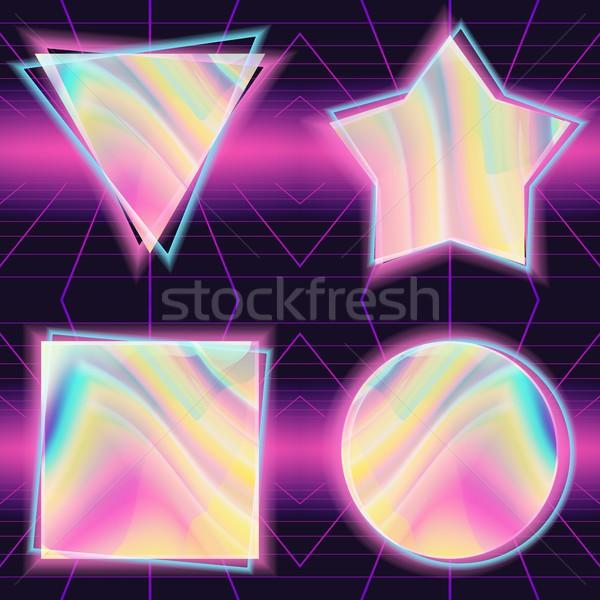 80s vektör holografik arka plan Retro scifi Stok fotoğraf © pikepicture