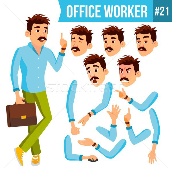Office Worker Vector. Emotions, Gestures. Animation Creation Set. Business Person. Career. Modern Em Stock photo © pikepicture