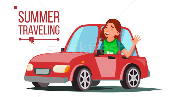 Woman Travelling By Car Vector. Girl In Summer Vacation. Driving Machine. Rides In The Car. Road Tri Stock photo © pikepicture