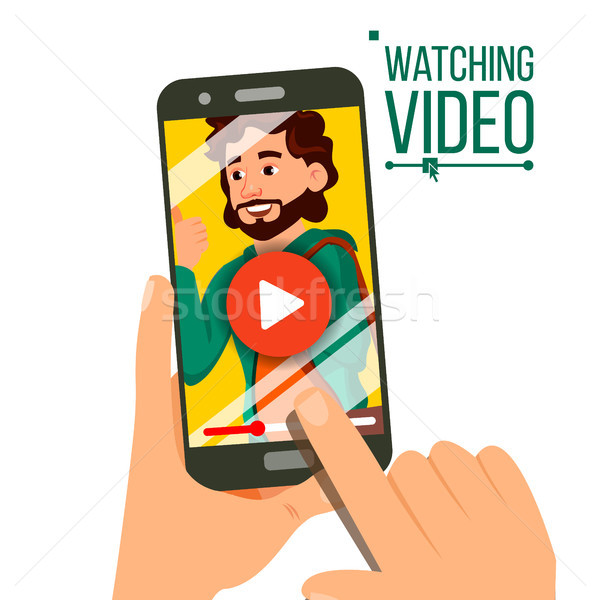 Watching Video On Smartphone Vector. Video Player On Screen. Red Play Symbol Button. Finger Touch Sc Stock photo © pikepicture