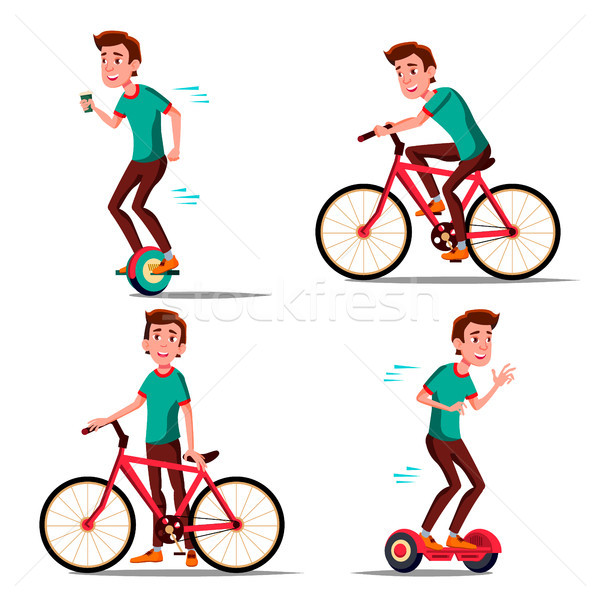 Teen Boy Riding Hoverboard, Bicycle Vector. City Outdoor Sport Activity. Gyro Scooter, Bike. Eco Fri Stock photo © pikepicture