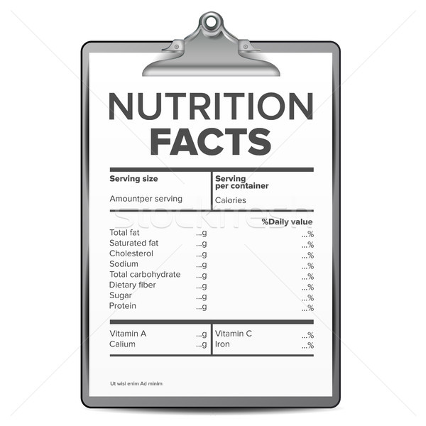 Nutrition Facts Vector. Blank, Template. Diet Calories List. For Box. Guideline. Ingredient Calories Stock photo © pikepicture