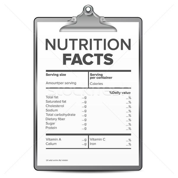 Nutrizione fatti vettore modello dieta calorie Foto d'archivio © pikepicture