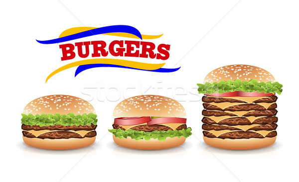 Fast food realistisch hamburger vector ingesteld hamburger Stockfoto © pikepicture