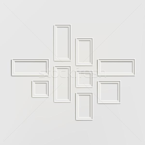 Fotolijstje sjabloon ingesteld vector schilderij foto Stockfoto © pikepicture
