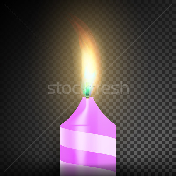 Stock photo: Burning 3D Realistic Dinner Candles. Dark Transparent Background