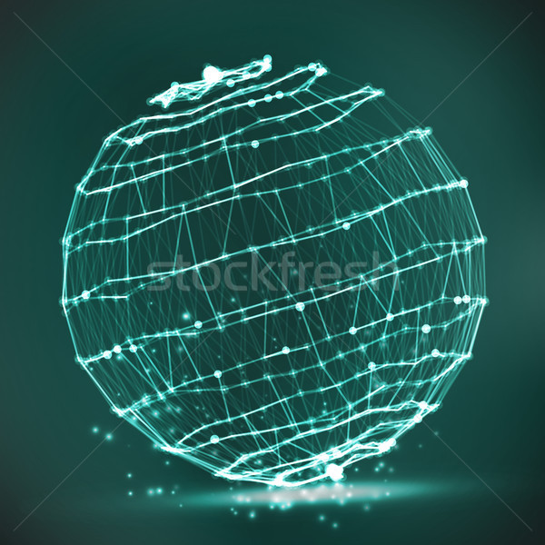 ストックフォト: スプラッシュ · 粒子 · 接続 · 構造 · 抽象的な · 球