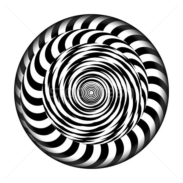 Radial Spiral With Rays. Vector Psychedelic Illustration. Twisted Rotation Effect. Black And White V Stock photo © pikepicture