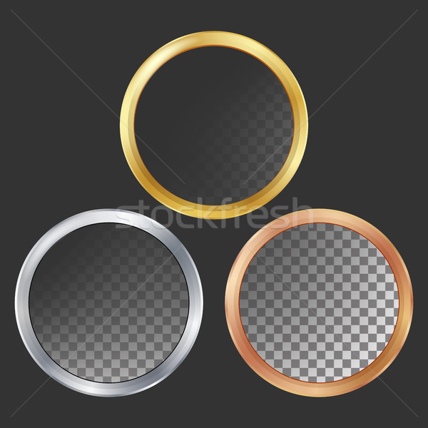 Gold, Silver, Bronze, Copper Metal Frames Vector. Round. Realistic Metallic Plates Illustration Stock photo © pikepicture