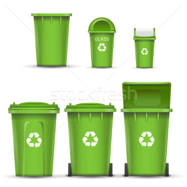 Stock photo: Green Recycling Bin Bucket Vector For Glass Trash. Opened And Closed. Front View. Sign Arrow. Isolat