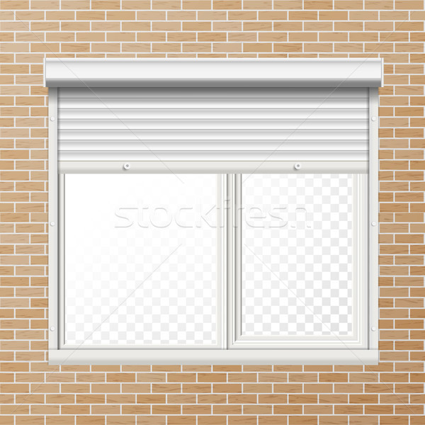 Vector Rolling Shutters. Brick Wall. White Metallic Roller Shutter Illustration. Stock photo © pikepicture
